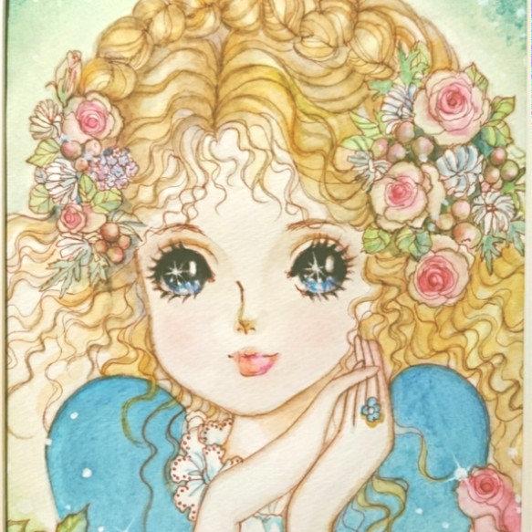 原画青いドレスの女の子 原画少女女の子イラストインテリア