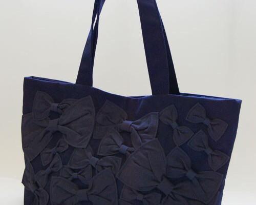 0b75e67c0035 【再販】 aigis リボントートバック(紺) トートバッグ etain 通販|Creema(クリーマ) ハンドメイド・手作り・クラフト作品の販売サイト