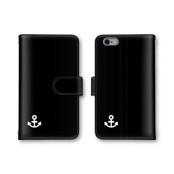 8744149190 ブラック イカリマーク スマホカバー 手帳型 スマホケース ほぼ全機種対応 Xperia iPhone 最新 ケース