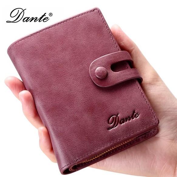 財布 レディース 二つ折り ふたつ折り 短財布 本革 送料無料 紫 ...