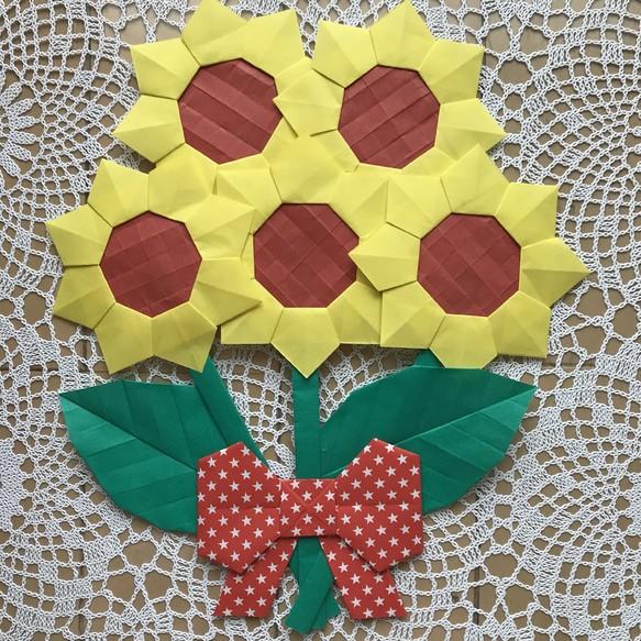 折り紙 小さな黄色の向日葵の花束 壁面飾り 夏 施設 病院 保育園