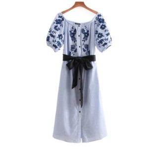 900ab7edeeb4d 夏の新作♪♪シングルブレストドレス 花柄 ロングスカート ワンピース ワンピース・チュニック Tchan