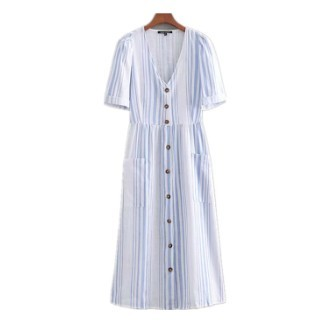 ac36eb13a93b0 夏の新作♪♪ ストライプ シングルブレスト ドレス Vネック ワンピース・チュニック Tchan