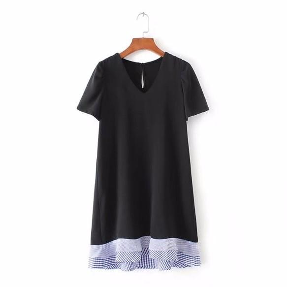 cfbf3518a03ea 夏の新作♪♪黒の tシャツ ワンピース チャック柄の裾 ワンピース・チュニック Tchan