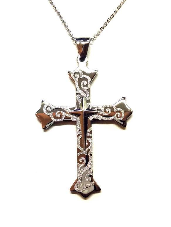 ae59cbb09ec44d クロス十字架サージカルステンレスネックレス/メンズレディース男女兼用ユニセックスモデル