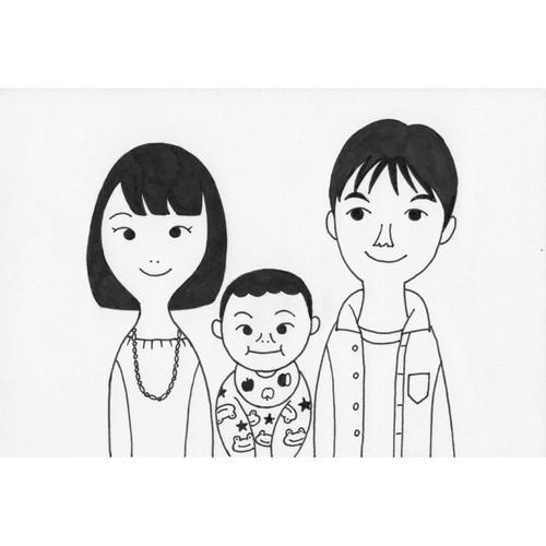 家族の似顔絵 かわいいモノクロ イラスト ヨコイマウ 通販 Creema クリーマ ハンドメイド 手作り クラフト作品の販売サイト