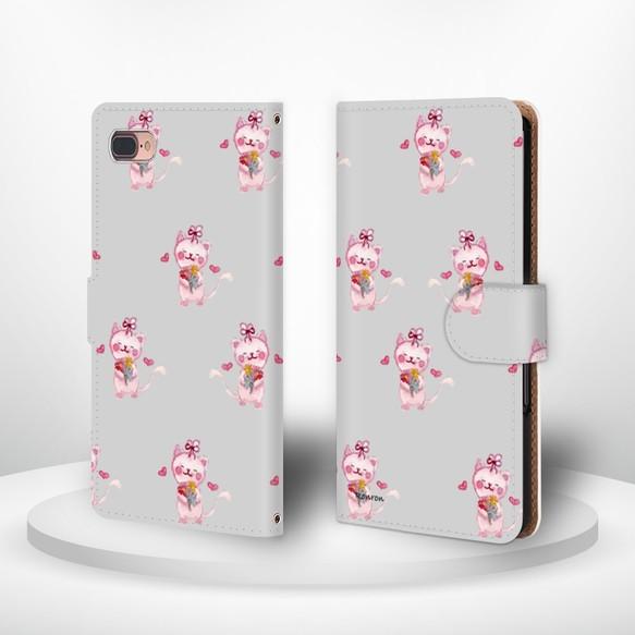 35858007f7 ハートネコ グレー androidケース 手帳型ケース cat600 スマホケース・カバー ○Ronron○