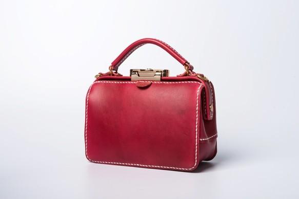 06254c0b6151d ダレスタイプ 小型 がま口バッグ 本革手作りのレザーショルダーバッグ 手染め   総手縫い 手持ち 肩掛け 2WAY 鞄