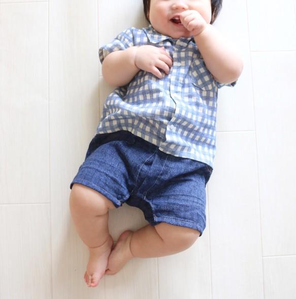 a4886ccbd4fa8 ギンガムチェックのシャツロンパース*ブルー ベビー服 Areu 通販 ...