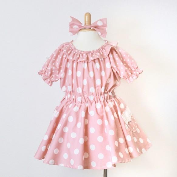 2ce9985f78283 ドットフレアワンピース*ピンク 子供服 Areu 通販|Creema(クリーマ ...