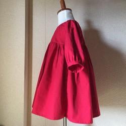 e6717e7a4e66f 再販22オーダーメイド 濃赤フレアーワンピース七分袖 size80〜130 ...
