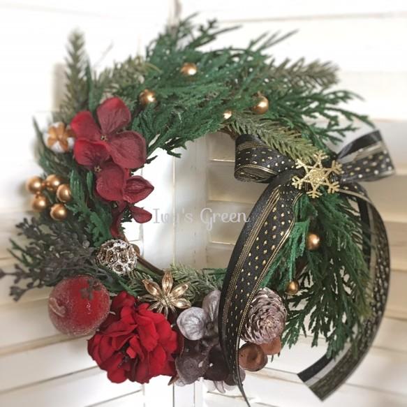 Creema限定クリスマス大人な赤のクリスマスリース フラワーリース