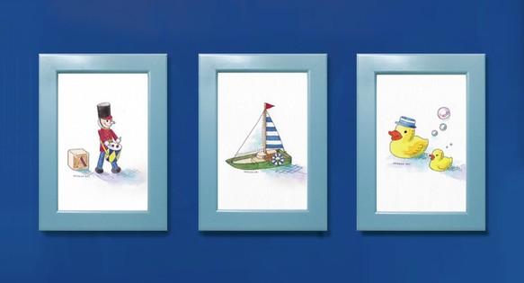 子供のためのイラスト選べる3点セット男の子向け 額付き原画