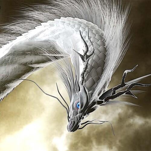 龍の絵「雲龍7白龍、瞳あり」A4 竜の絵 イラスト breeze 通販 ...