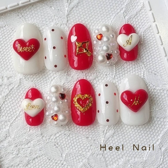 ネイルチップ/ジェルネイル/バレンタインネイル/ゆめかわネイル/赤ネイル/ハートネイル/バレンタイン/ポップ/可愛い◇