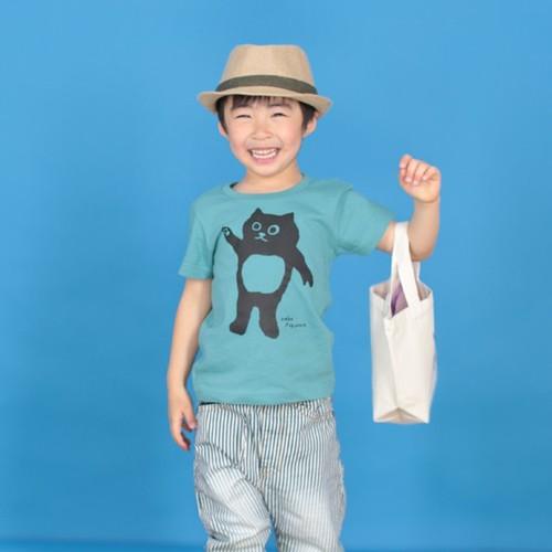 ネコフクロウ(90 120サイズ) こどもTシャツ セージブルー