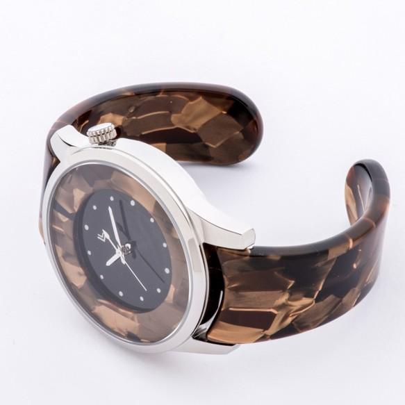 9144a7cf9a 腕時計 鯖江バングルウォッチ ビッグフェイス ゴールドモザイク 腕時計 ...