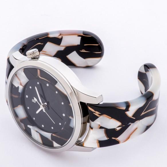 96dd259ef2 腕時計 鯖江バングルウォッチ ビッグフェイス ホワイトモザイク 腕時計 ...