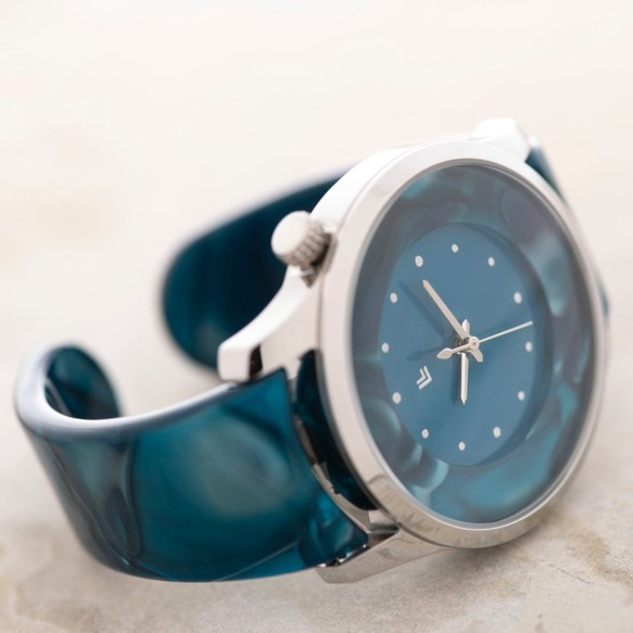 fa346fac06 腕時計 鯖江バングルウォッチ ビッグフェイス ブルーマーブル 腕時計 ...