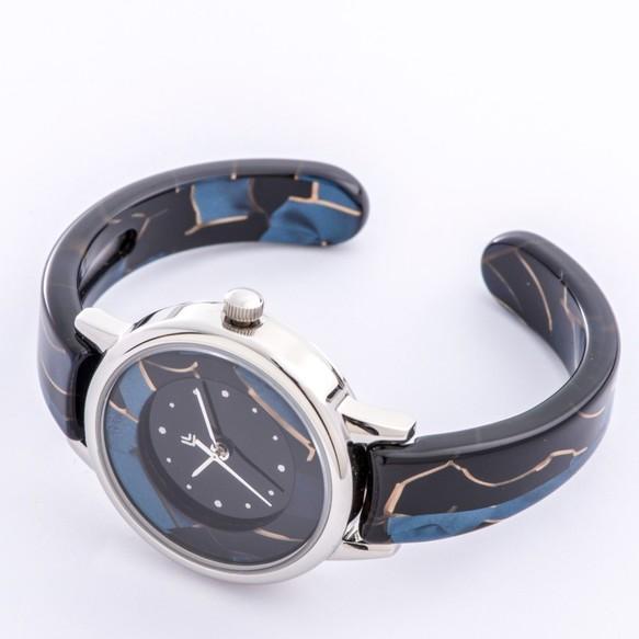 9998687bd6 腕時計 鯖江バングルウォッチ スモールフェイス ブルーモザイク 腕時計 ...