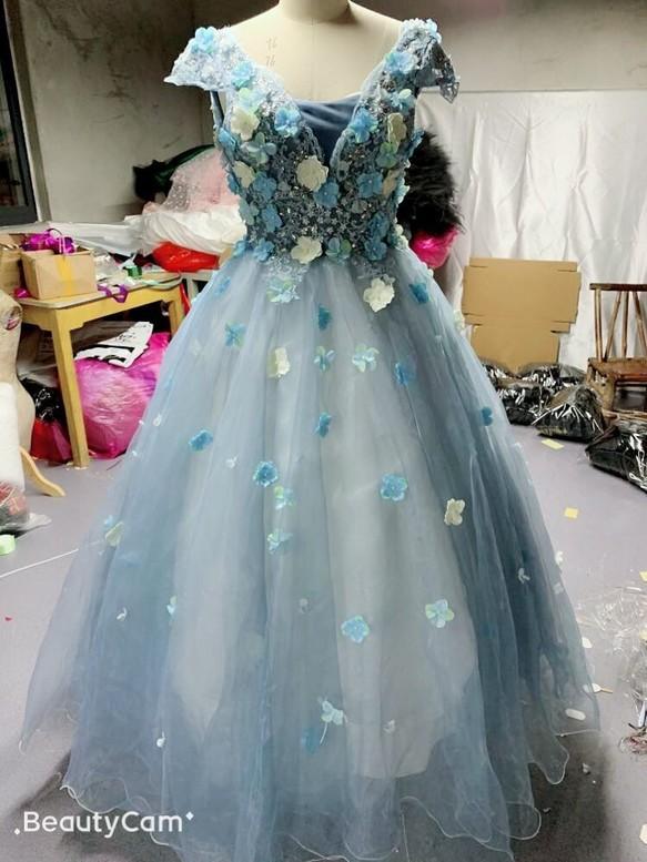 d5ea6200b34cc ウエディングドレス ブルー カラードレス フラワードレス 結婚式 お色直し ドレス ARY WEDDING