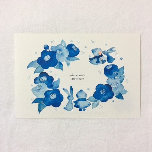 No.027】寒中見舞いポストカード 3枚セット(椿と雪うさぎ) カード ...