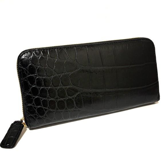 13c59aa44df9 GYPS FLAT(ジプスフラット) クロコダイル 長財布 ラウンドファスナー 肚ワニ 一枚革 BLACK 黒 5