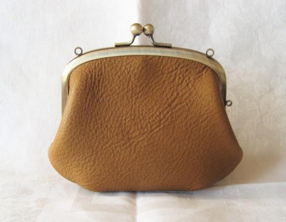 67ddc83c2458 レザーの親子がま口 大きい財布 (キャメル) がま口 Keropo 通販 ...