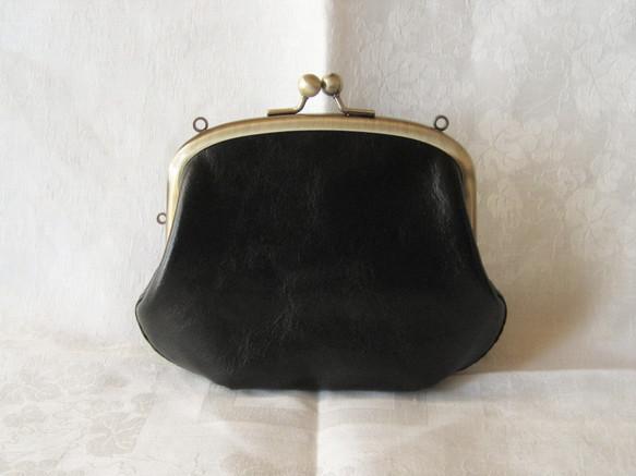 f573373f0e49 レザーの親子がま口 大きい財布 (ブラック) がま口 Keropo 通販 ...