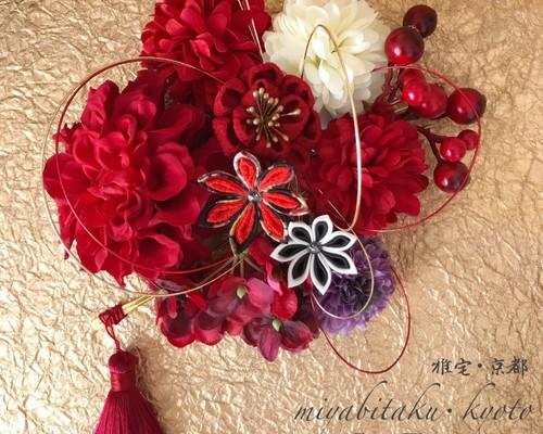 77a9edfc7b03d 新作 F1806W1 赤♡つまみ細工♡髪飾り♡・結婚式・パーディー・成人式・卒業式