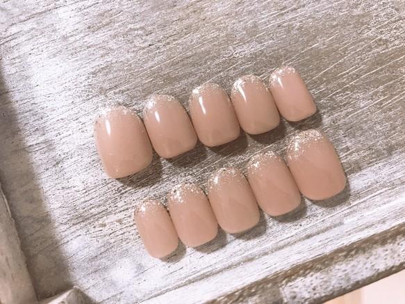 Ongle blanc/スキンカラー/ピンク/シンプル/シルバー/ラメグラデーション/オフィスネイル