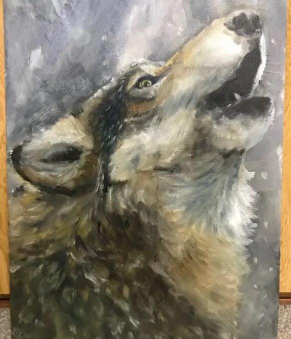 狼 遠吠え 油絵 イラスト 3123cm 絵画 たぬきち 通販creemaクリーマ