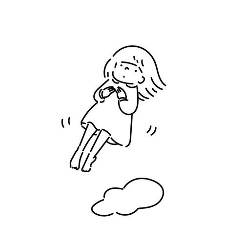 浮かぶ女の子イラストtシャツ Tシャツ カットソー Ciptacikap チプタチカプ 通販 Creema クリーマ ハンドメイド 手作り クラフト作品の販売サイト