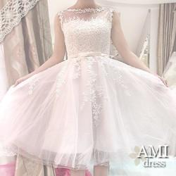 ミモレ丈 ウェディングドレス ホワイト 二次会 花嫁ドレス 肩あり