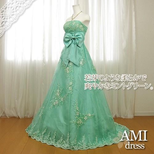 カラードレス 緑 5号7号9号11号 プリンセスラインドレス 花嫁 結婚式
