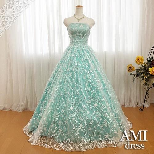 カラードレス 薄緑 5号7号9号11号13号15号 プリンセスライン 結婚式