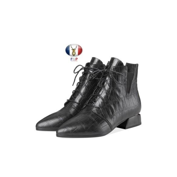 24621dcf3edcab アーモンドトゥエンボスチェック柄ハラコレザーレースアップサイドゴアハイカットブーツ筒丈9cm全2色 シューズ・靴 山崎手作り靴革工房りな