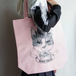 39b4a3658947 HANA circus original キャンバストートバッグ M ライトピンク 猫 はちわれ 線画 イラスト