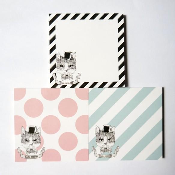 fb6181f6015e HANA circus original メモパッド 3種セット 猫 はちわれ ストライプ ドット
