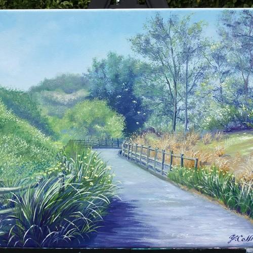 """油絵原画、風景画、カリフォルニアの風景、春の遊歩道 """"Spring At The ..."""