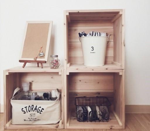 木箱de収納 パイン材 午前中ご注文で翌日出荷可能/りんご箱