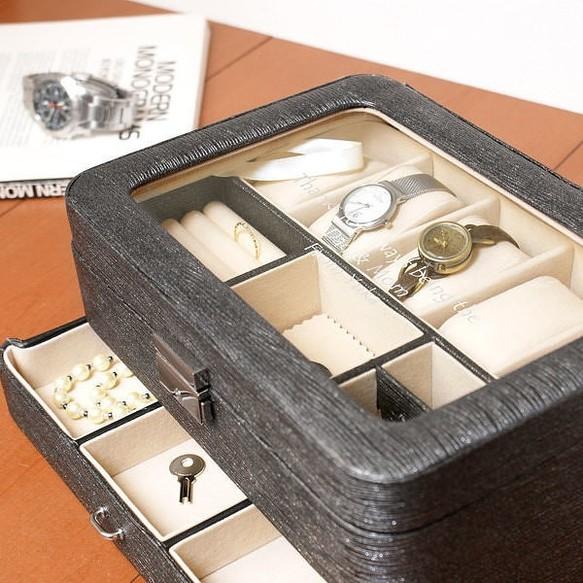 【名入れ】腕時計5個とアクセサリーを見せながら収納できる ウォッチ&ジュエルボックス ブラック