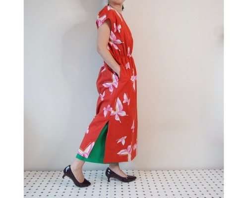 5afbd4fb8ec46 AODAI DRESS MAXI -レンガ色の浴衣地を使ったドレス 1枚のみです。