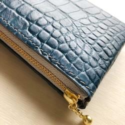 2873343383f9 最高級クロコ シン L字財布 カードケース 本革 型押し クロコ ネイビー ...
