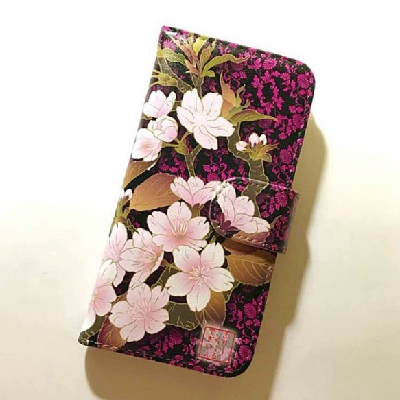 4e9f61198d 美しい桜 和柄 艶やか スマホカバー 全機種対応 スマホケース 手帳型ケース 黒ベース ピンク 6 桃 サクラサク