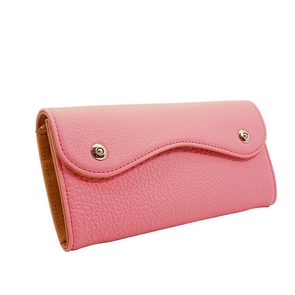 d5afb3121156 ドイツシュリンク カブセ型 長財布 2つ釦(ボタン)と曲線が 可愛い 本革 レディース 財布 ピンク