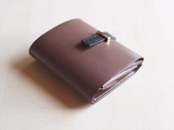 45aa26f10eb6 高級革>イタリアレザー使用の薄いミニ財布!グレージュ色 財布・二つ折り ...