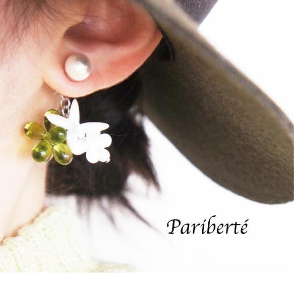 Vert Transparent 透き通った爽やかな緑をポイントカラーに ピアス