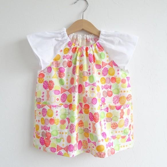 5b3eff136f515 選べる袖・サイズ・ポケット・ループ❤ リボンちょうちょ《ピンク×白切り替え》の夏用スモック 80~140サイズ