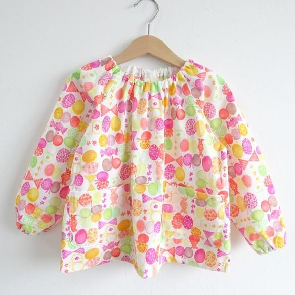 e529e841dc9a9 選べるサイズ・ポケット・ループ❤ リボンちょうちょの長袖スモック 80~140サイズ
